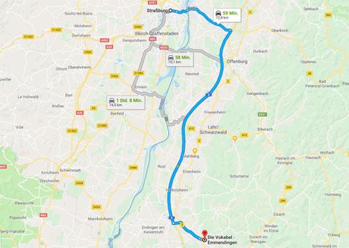 PKW Anfahrt von Strasbourg zum TOEFL Testzentrum in Emmendingen (Deutschland) bei der Sprachschule Die Vokabel